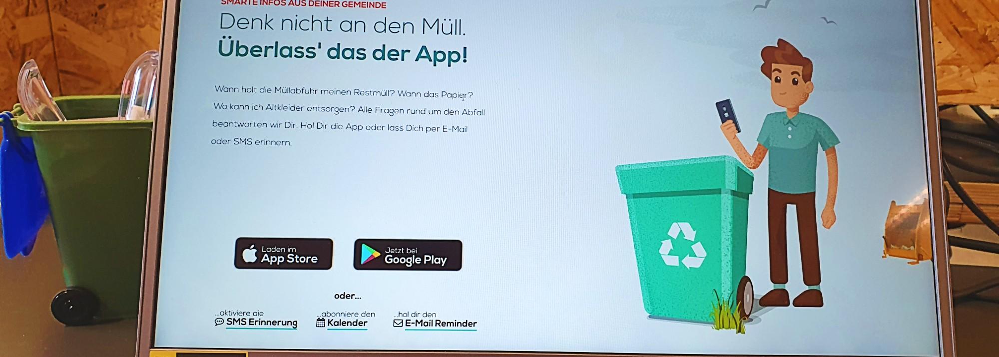 Die neue Müll App Website